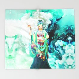 The Goddess of Mercy Throw Blanket
