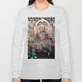 Spiritual Japanese Buddha statue texture Long Sleeve T-shirt