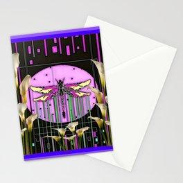 Purple Art Nouveau Calla Lilies Dragonfly Art Stationery Cards