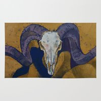 ram Area & Throw Rugs featuring Ram Skull by Michael Creese