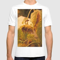 The Sun has Set and tomorrow, God willing, it will rise again [SUNFLOWER] [WILTING] [YELLOW SKY]  Mens Fitted Tee White MEDIUM