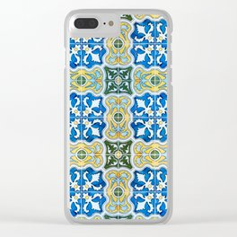 Seamless Floral Pattern Ornamental Tile Design : 6  blue, yellow Clear iPhone Case