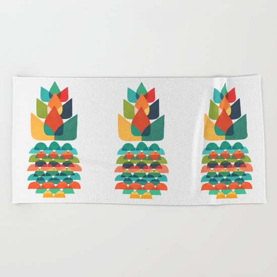Colorful Whimsical Ananas Beach Towel