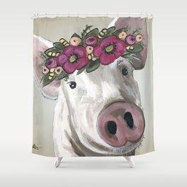 Cute Pig Painting, Farm Animal Art Shower Curtain