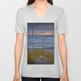 Sunset Photograph of a Dune with Beach Grass at Holland Michigan No 0199 Unisex V-Neck