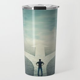 Confident man stands in front of a crossroad Travel Mug