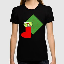 Christmas stocking with decorative holly leaves and mistletoe T-shirt