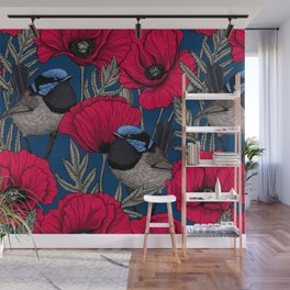 Fairy wren and poppies Wall Mural