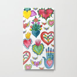 Sacred Hearts Milagros Watercolor Metal Print