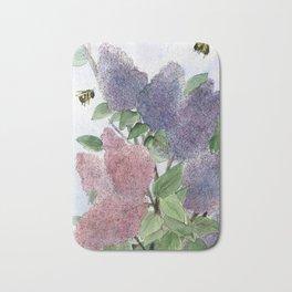 Lilacs and Bees Watercolor Painting Bath Mat