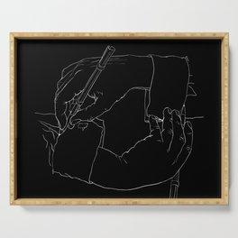 Drawing Hands (Black) - Line art from Escher Serving Tray