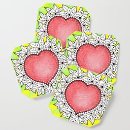 Watercolor Doodle Art | Heart Coaster