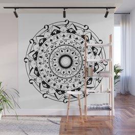 patience black mandala on white Wall Mural