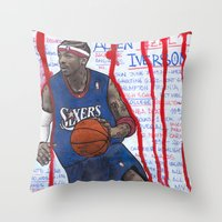 nba Throw Pillows featuring NBA PLAYERS - Allen Iverson by Ibbanez