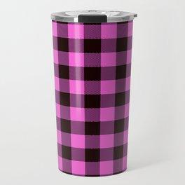 Pink Plaid Travel Mug