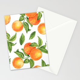 Oranges with leaves seamless pattern Stationery Cards