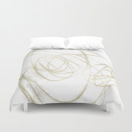 Beige and Brown Minimalist Abstract Line Drawing Duvet Cover