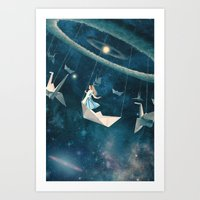 lady Art Prints featuring My Favourite Swing Ride by Paula Belle Flores