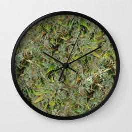 cannabis bud, marijuana macro Wall Clock