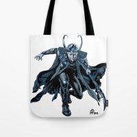 loki Tote Bags featuring Loki by Alessia Pelonzi