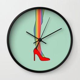 Rainbow Pride Stockings - Red Shoes Wall Clock