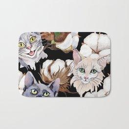 Cotton Flower & Cat Pattern on Black 01 Bath Mat