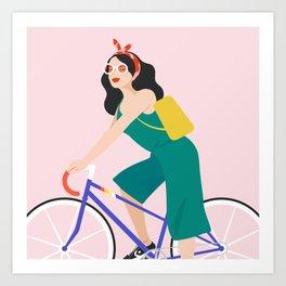 Racing bike girl Art Print