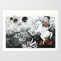 hunting Art Prints featuring hunting by Vania Barbato