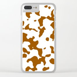 Large Spots - White and Brown Clear iPhone Case