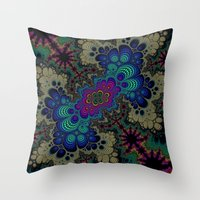 novelty Throw Pillows featuring Peacock Fractal by Moody Muse