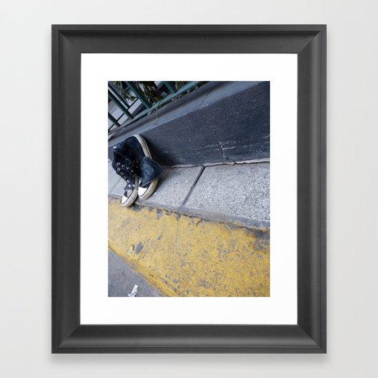 Alone on the street Framed Art Print