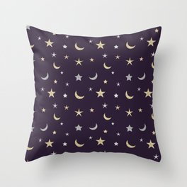 Gold and silver moon and star pattern on purple background Throw Pillow