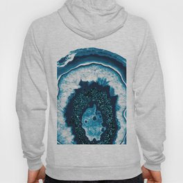 Blue White Agate with Blue Glitter #1 #gem #decor #art #society6 Hoody