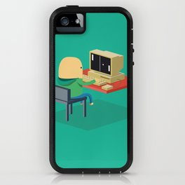 Nerd playing Pong iPhone Case