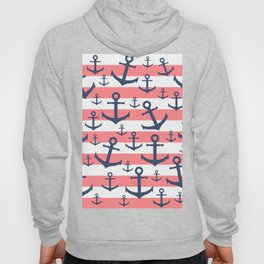 Nautical coral stripe navy blue anchor pattern Hoody