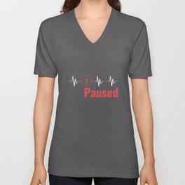 Paused | Heartbeat Break Design Unisex V-Neck