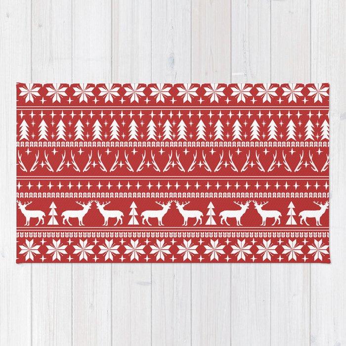Deer christmas fair isle camping pattern snowflakes minimal winter ...