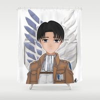 levi Shower Curtains featuring Levi Rivaille by Larkee Beatz