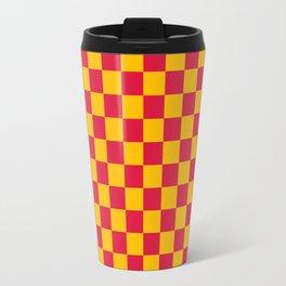 Amber Orange and Crimson Red Checkerboard Travel Mug