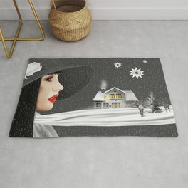 The woman with th winter scarf Rug