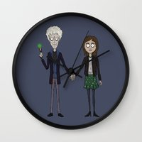 tim burton Wall Clocks featuring Twelfth & Clara (Burton style) by San Fernandez