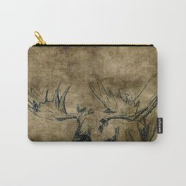 Moose Woodland Illustration Textured Fine Art Carry-All Pouch