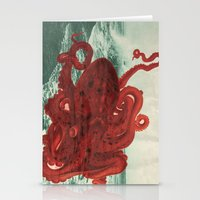 octopus Stationery Cards featuring Octopus Beach by Chase Kunz