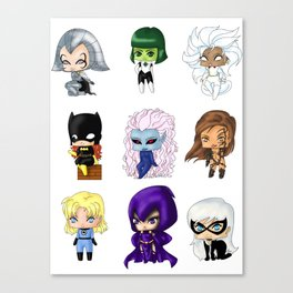 Chibi Heroines Set 1 Canvas Print