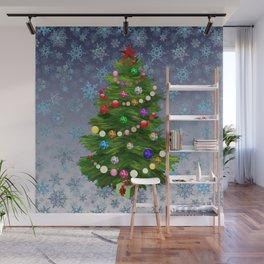 Christmas tree & snow v.2 Wall Mural