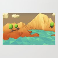 low poly Area & Throw Rugs featuring Low Poly Landscape by error23