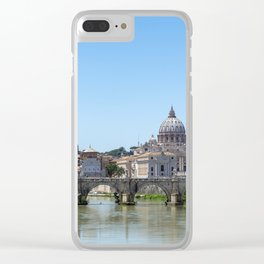 Sant'angelo bridge and St. Peter's Basilica - Rome, Italy Clear iPhone Case