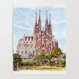 La Sagrada Familia watercolor Poster