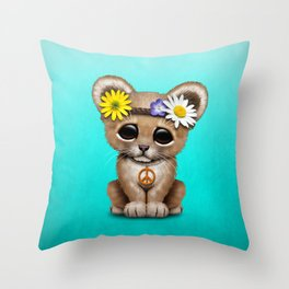 Cute Baby Lion Cub Hippie Throw Pillow