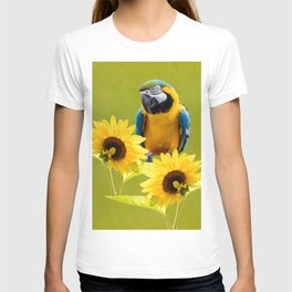 Blue-and-yellow macaw and sunflowers T-shirt